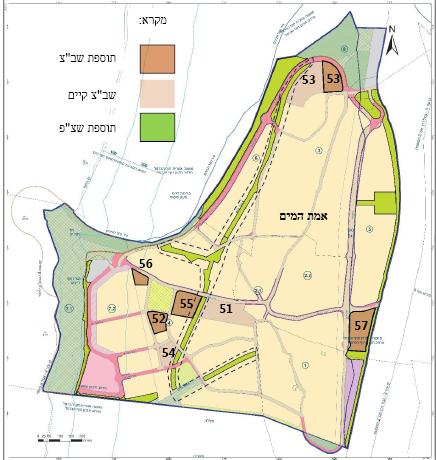 מפת שטחי הציבור שאותרו בתכנית המצב המוצע כשטחים שנוספו לשטחים המאושרים